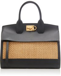 Ferragamo The Studio Straw And Leather Bag - Black