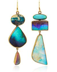 Judy Geib One-of-a-kind Vibrant Opal Mixed-shape Totem Earrings - Blue