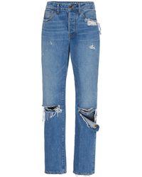 Brandon Maxwell Distressed Boyfriend Jeans - Blue