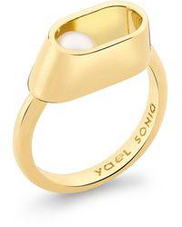 YAEL SONIA Ellipse Pearl 18k Yellow Gold Ring - Metallic