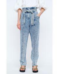 Sea Betty Paper-bag Acid-washed Rigid High-rise Straight-leg Jeans - Blue