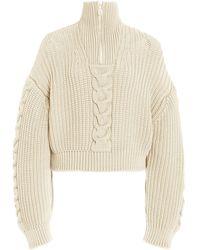 Nanushka Eria Cable-knit Cotton-blend Cropped Sweater - White