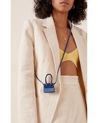 Jacquemus Le Petit Chiquito Ombré Patent-leather And Suede Bag - Blue