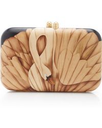 Silvia Furmanovich Marquetry Swan Clutch - Brown