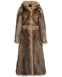 Paco Rabanne Hooded Faux Fur Coat - Brown