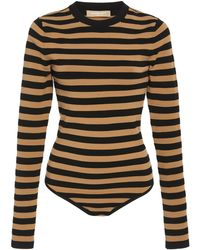 Michael Kors Striped Stretch-jersey Bodysuit - Black