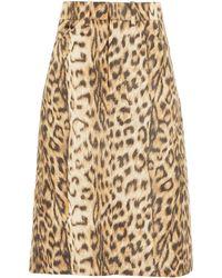 Victoria Beckham - Leopard-print Taffeta A-line Skirt - Lyst