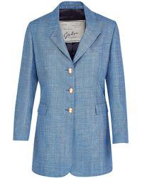 Giuliva Heritage Collection The Karen Blazer Wool Silk Linen - Blue