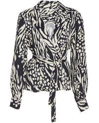 Veronica Beard Clive Printed Crepe Pyjama Top - Black