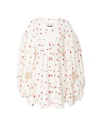 Hellessy Sonia Printed Silk-effect Bubble Dress - White
