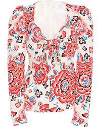 Rebecca de Ravenel - Printed Tie Front Blouse - Lyst