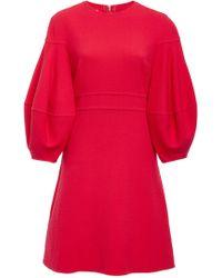 Oscar de la Renta - Fluted Wool-blend Cady Mini Dress - Lyst
