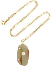 Atlantic 18K Gold Beach Stone and Sapphire Necklace CVC UCheqA