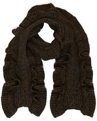Michael Kors Ruffled Cable Knit Scarf - Brown