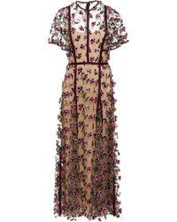 Lela Rose - Floral-embroidered Tulle Dress - Lyst