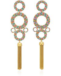 Joanna Laura Constantine - Rainbow Grommets Gold-plated Brass And Cubic Zirconia Statement Earrings - Lyst
