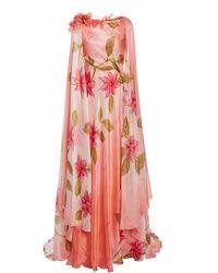 Rodarte Appliquéd Cape-effect Hand-painted Silk Gown - Pink