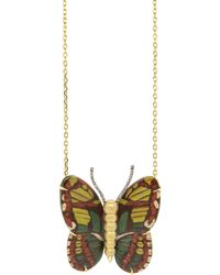 Silvia Furmanovich 18k Yellow Gold Green Butterfly Marquetry Necklace