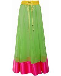 Prabal Gurung Bombo Colorblocked Silk Midi-skirt - Green