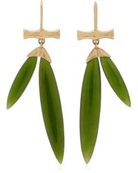 Annette Ferdinandsen Bamboo 14k Yellow Gold Jade Earrings - Green