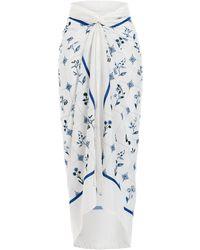 Agua by Agua Bendita Lavanda Loza-printed Cotton-silk Pareo - White
