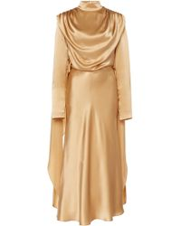 Matériel Silk Turtleneck Dress With Tied Back - Brown