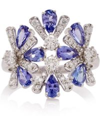 Hueb Exclusive 18k White Gold, Tanzanite And Diamond Ring - Blue