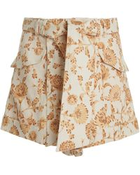 Significant Other Aphrodite Floral-print Linen-blend Shorts - Brown