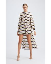 Oscar de la Renta Striped Asymmetric Silk Blouse - Multicolour