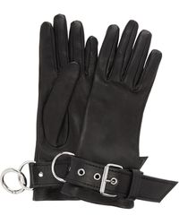 Balenciaga Fetish Silk-lined Leather Gloves - Black