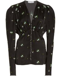 Paco Rabanne Floral-embroidered Satin Top - Black
