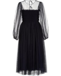 Molly Goddard Amelie Hand-smocked Tulle Midi Dress - Blue
