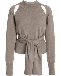 Rejina Pyo Morgan Cutout Tie-front Wool Jumper - Grey
