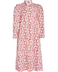 Alix Of Bohemia Laura Hand-printed Cotton Dress - Red