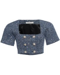 Alessandra Rich Sequined Cotton-blend Herringbone Cropped Top - Blue