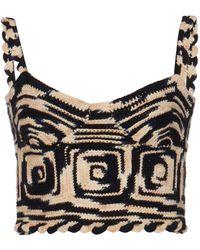 Ulla Johnson Lucia Crocheted Wool Crop Top - Black