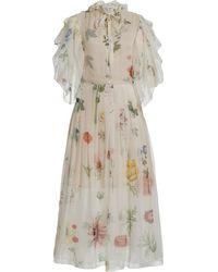 Oscar de la Renta Printed Balloon Sleeve Silk Dress - White