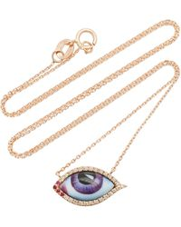 Lito 14k Rose Gold & Enamel Eye Necklace - Purple