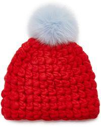 Mischa Lampert Solid Fur Pom-pom Wool Beanie - Red
