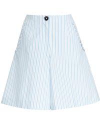 Delpozo - Striped Cotton Bermuda Short - Lyst