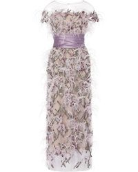 Marchesa Ostrich Feather And Crystal-embellished Tulle Midi Dress - Purple