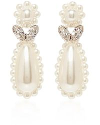 Simone Rocha Crystal And Faux-pearl Flower Drop Earrings - White