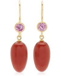 Mallary Marks Apple And Eve 22k Yellow Gold Jasper, Sapphire Earrings - Red