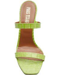 Paris Texas Croc-embossed Leather Mules - Green