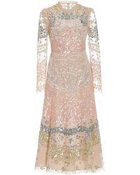 Needle & Thread Angeline Sequined Tulle Midi Dress - Pink