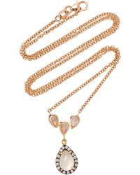 Misahara - Water Droplet 18k Rose Gold, Diamond And Moonstone Earrings - Lyst
