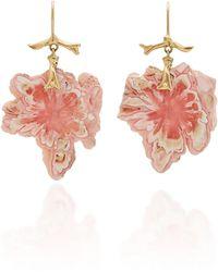 Annette Ferdinandsen Exclusive: Rhodochrosite Snowflake Branch Earring - Pink