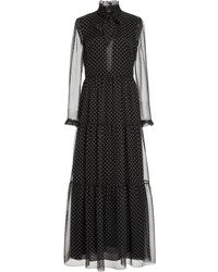 Philosophy Di Lorenzo Serafini Polka-dot Printed Chiffon Gown - Black