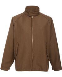 Camoshita No-collar Zip Jacket - Brown