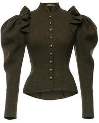Lena Hoschek Theresia Puff-sleeve Wool-blend Jacket - Green